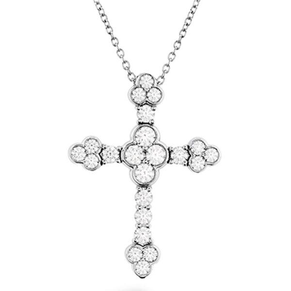 λευκόχρυσος σταυρός γυναικείος με διαμάντια