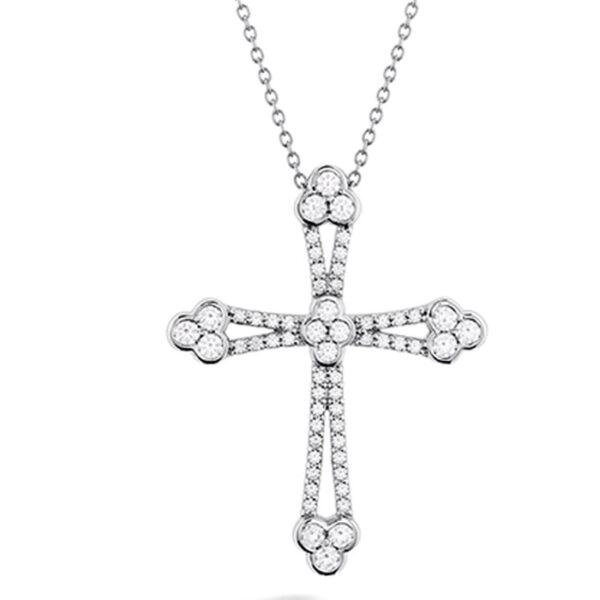 χειροποίητος σταυρός λευκόχρυσος με διαμάντια