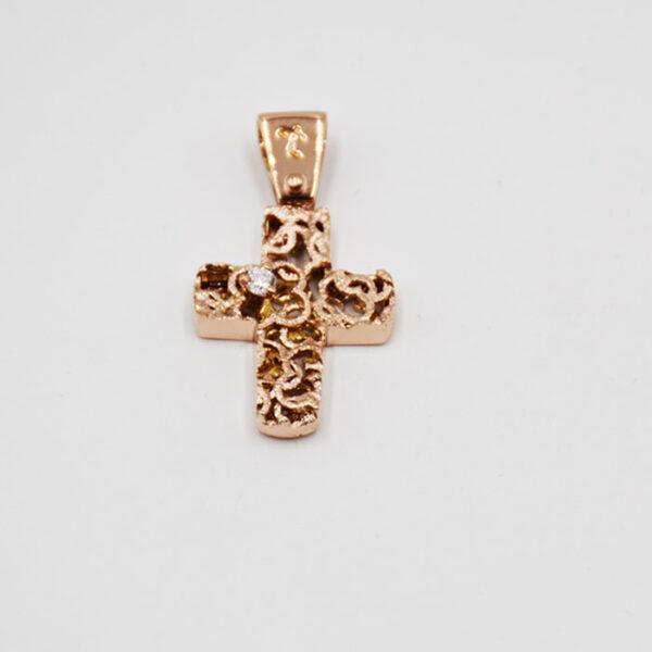 ροζ χρυσός σταυρός βάπτισης