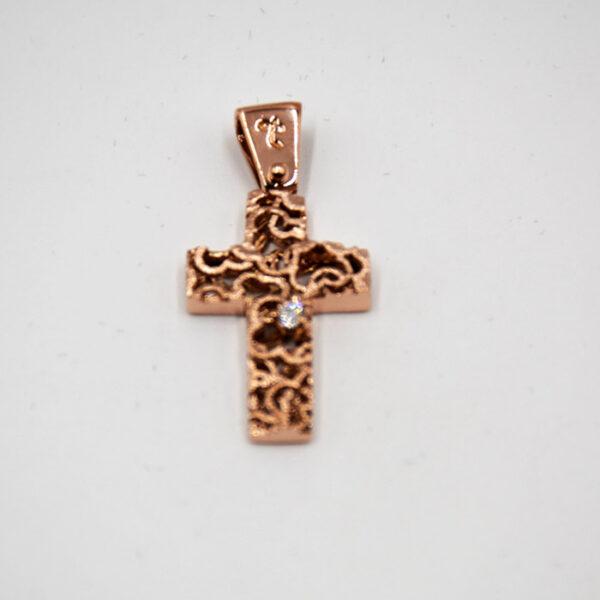 σταυρός βάπτισης σε ρoζ χρυσό