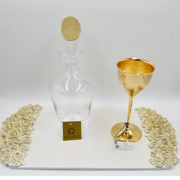 αριστοκρατικό σετ γάμου δίσκος καράφα και ποτήρι