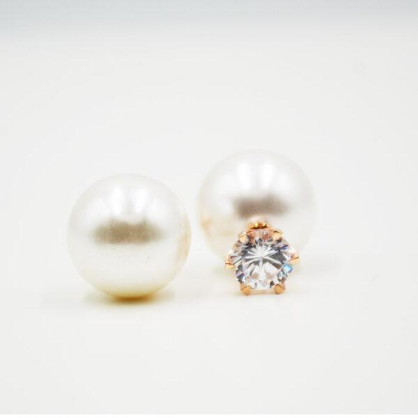 σκουλαρίκια με μαργαριτάρι και ζιργκόν Swarovski