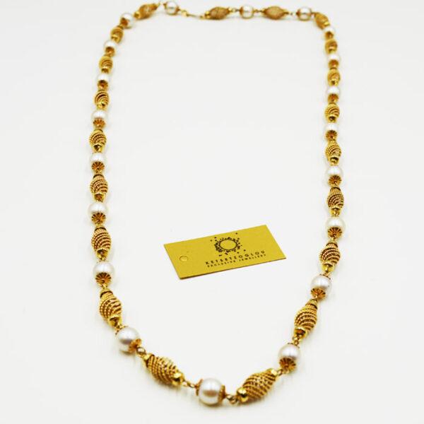 κολιέ σε κίτρινο χρυσό με πολύτιμες λεπτομέρειες