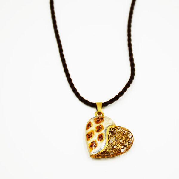 χρυσή καρδιά με σμάλτο