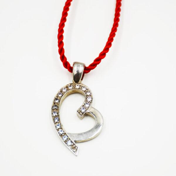 ασημένιο κολιέ καρδιά με πέτρα Swarovski