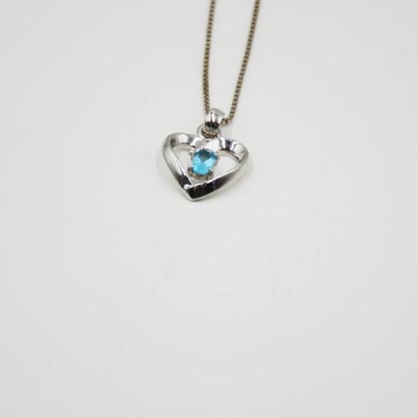 ασημένιο κόσμημα καρδιά με ζιργκόν γαλάζια πέτρα