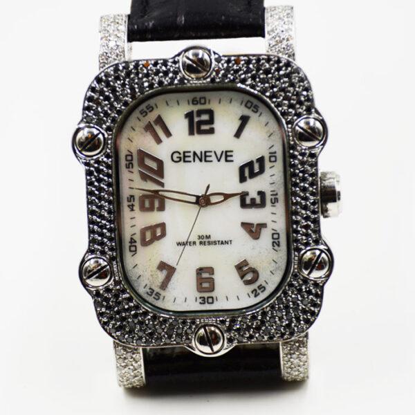 γυναικείο ρολόι Geneve με μαύρα και λευκά μπριγιάν