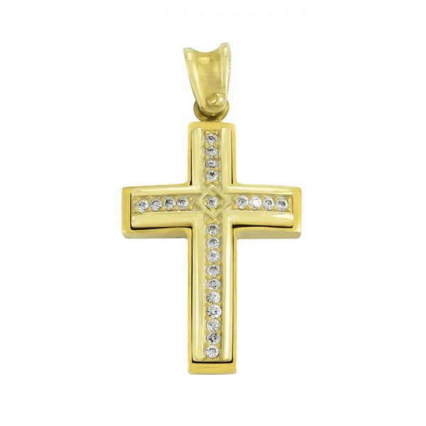 χρυσός σταυρός βάπτισης για κορίτσι