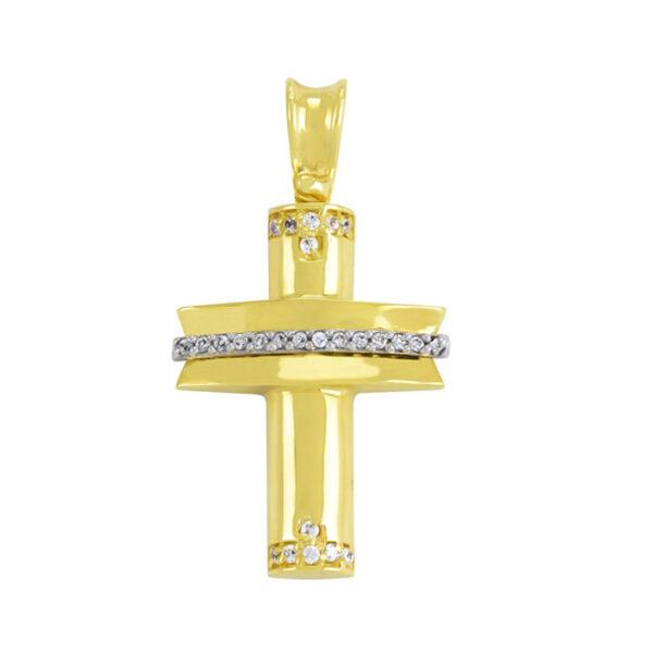 βαπτιστικός σταυρός σε κίτρινο χρυσό