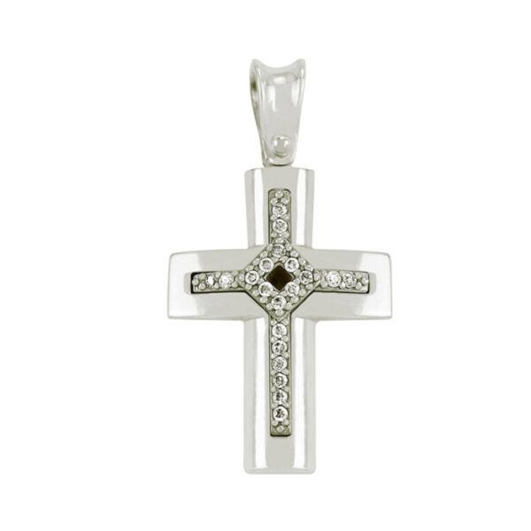λευκόχρυσος σταυρός για κορίτσι