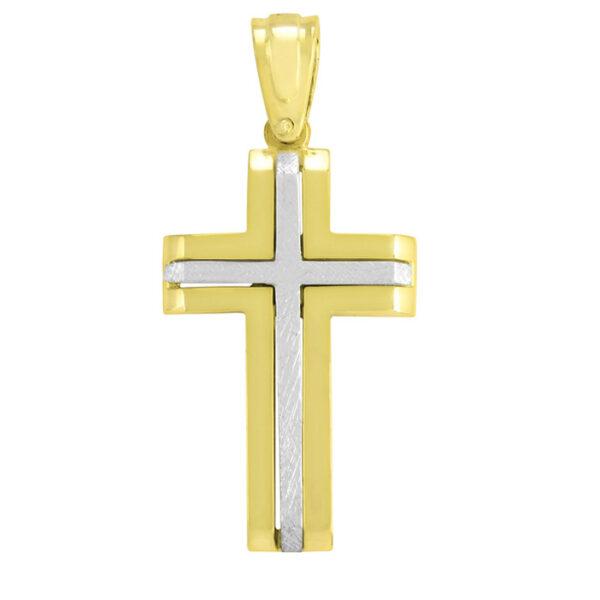 δίχρωμος σταυρός βάπτισης για αγόρι σε νέο σχέδιο
