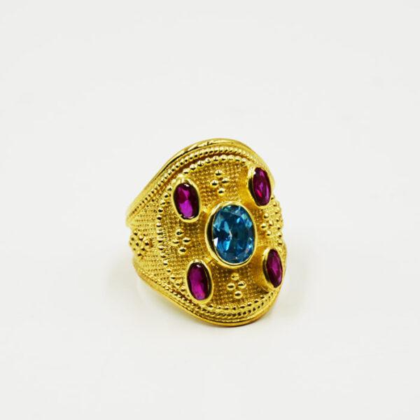 Βυζαντινό δαχτυλίδι σε ασήμι επιχρυσωμένο - eshop kosmima-rologia.gr