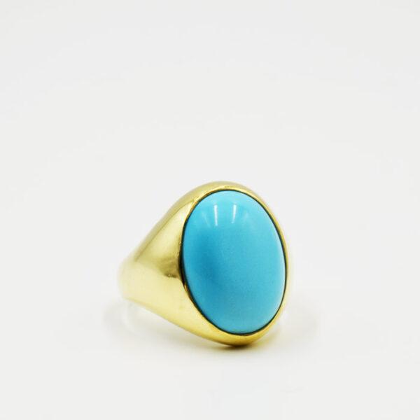 ασημένιο χειροποίητο δαχτυλίδι με πέτρα τυρκουάζ