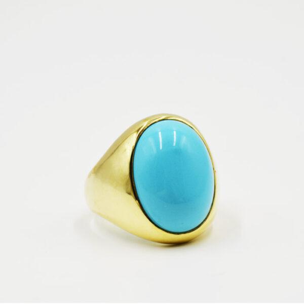 ασημένιο δαχτυλίδι με τυρκουάζ πέτρα σε νέο σχέδιο