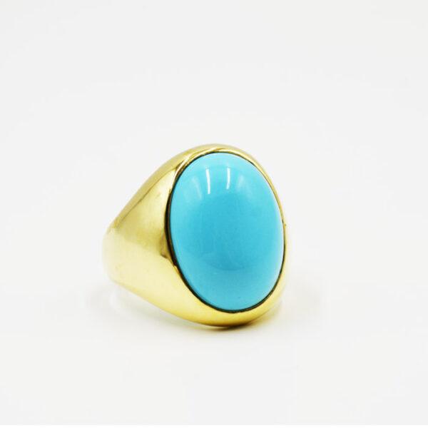 δαχτυλίδι διακοσμημένο με τυρκουάζ πέτρα σε νέο σχέδιο