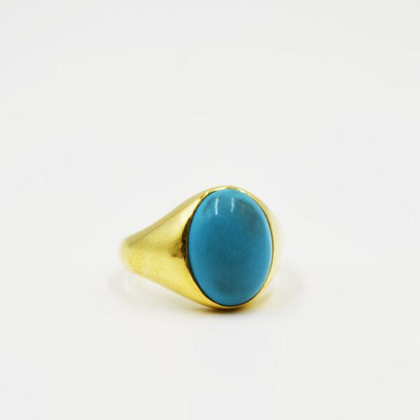 δαχτυλίδια με τυρκουάζ πέτρα σε κίτρινο χρυσό