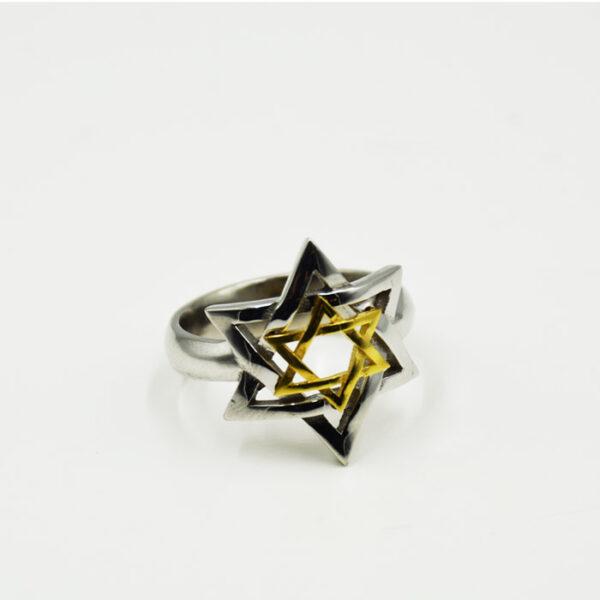 ανδρικό δαχτυλίδι ασημένιο σε λευκό και κίτρινο χρυσό