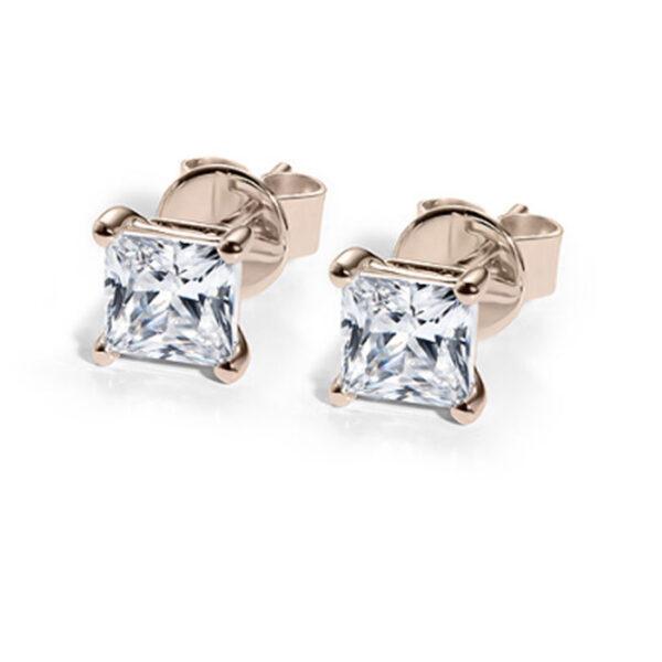 μονόπετρα με διαμάντια ροζ χρυσό σκουλαρίκια
