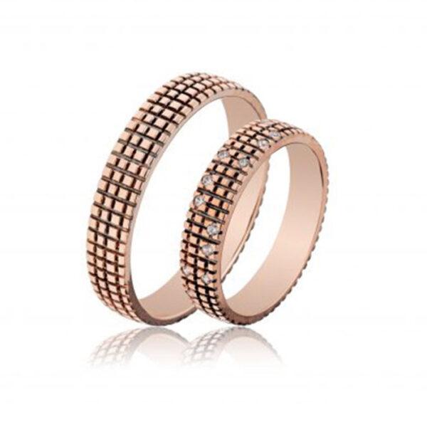 Χειροποίητες βέρες γάμου ροζ χρυσό