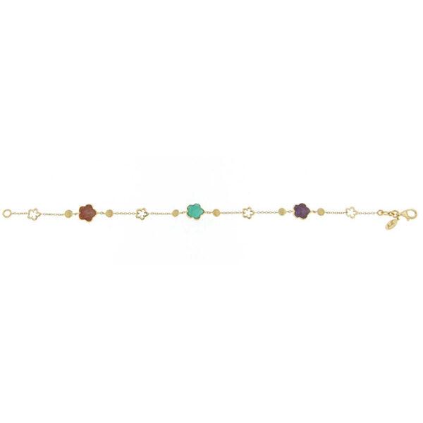 Γυναικείο βραχιόλι χρυσό 18Κ με ημιπολύτιμες πέτρες by Ketsetzoglou Rainbow Collection
