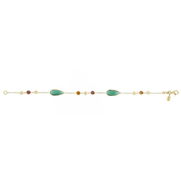 Βραχιόλι γυναικείο 18Κ χρυσό με ημιπολύτιμες πέτρες