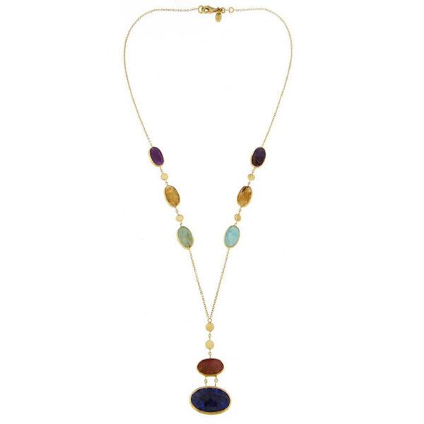 Κολίε 18Κ κίτρινο χρυσό με ημιπολύτιμες πέτρες Rainbow Collection με νέο design by Ketsetzoglou
