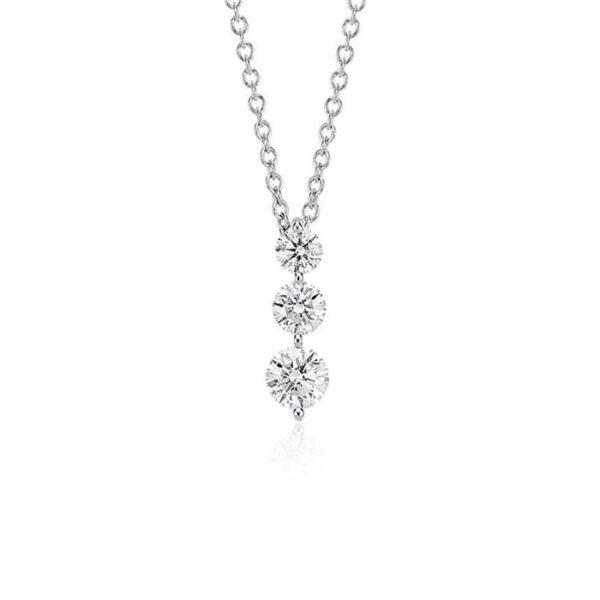 Μονόπετρο κολιέ με στρογγυλά διαμάντια