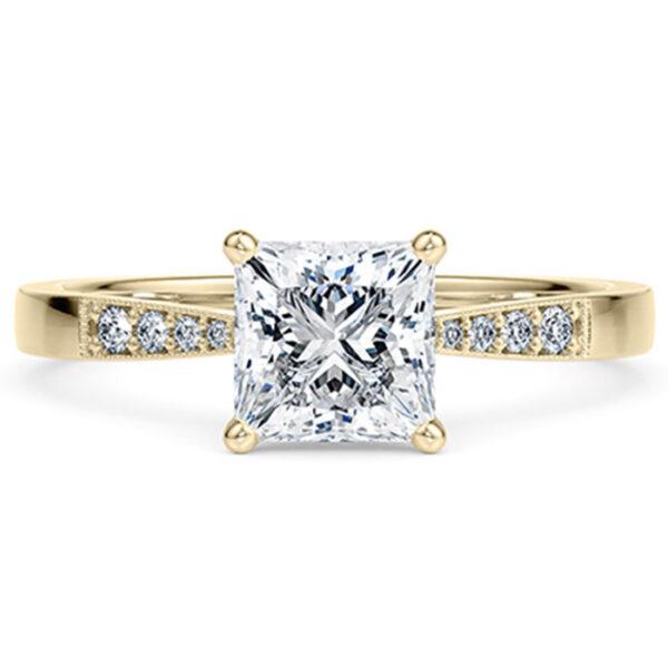 Δαχτυλίδι μονόπετρο με τετράγωνο διαμάντι