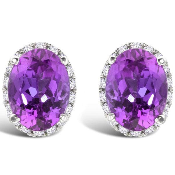 Σκουλαρίκια λευκόχρυσο με αμέθυστο και διαμάντια