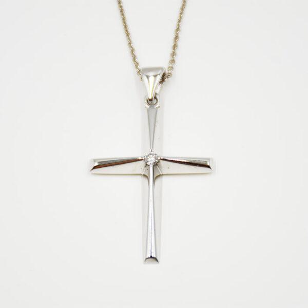 Βαπτιστικός σταυρός με διαμάντι για κορίτσι