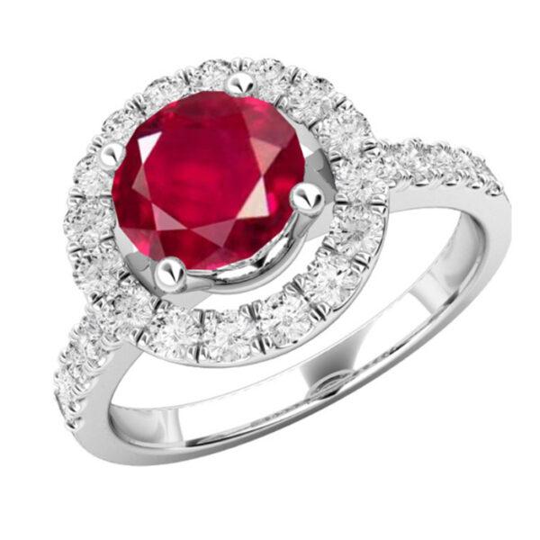 Ροζέτα δαχτυλίδι με ρουμπίνι και διαμάντια σε νέο σχέδιο