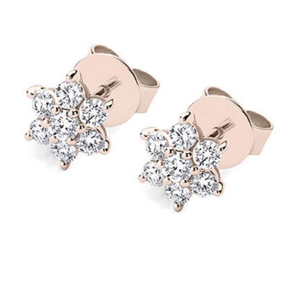 Μονόπετρα σκουλαρίκια με διαμάντια ροζ χρυσό 18Κ