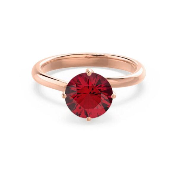 Μονόπετρο δαχτυλίδι ροζ χρυσό με ρουμπίνι