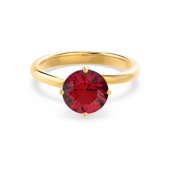 Ρουμπίνι στρογγυλό μονόπετρο δαχτυλίδι κορυφαίας ποιότητας