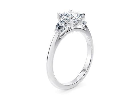 Μονόπετρο δαχτυλίδι λευκόχρυσο με τετράγωνο διαμάντι