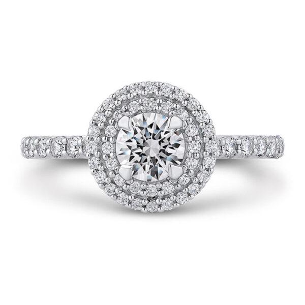 Ροζέτα μονόπετρο δαχτυλίδι με στρογγυλά διαμάντια