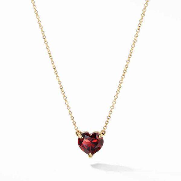 Μενταγιόν με ημιπολύτιμη πέτρα σε σχήμα καρδιά
