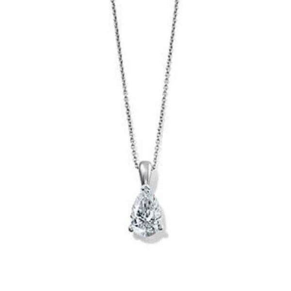 Μονόπετρο κολιέ 18κ με πουάρ διαμάντι
