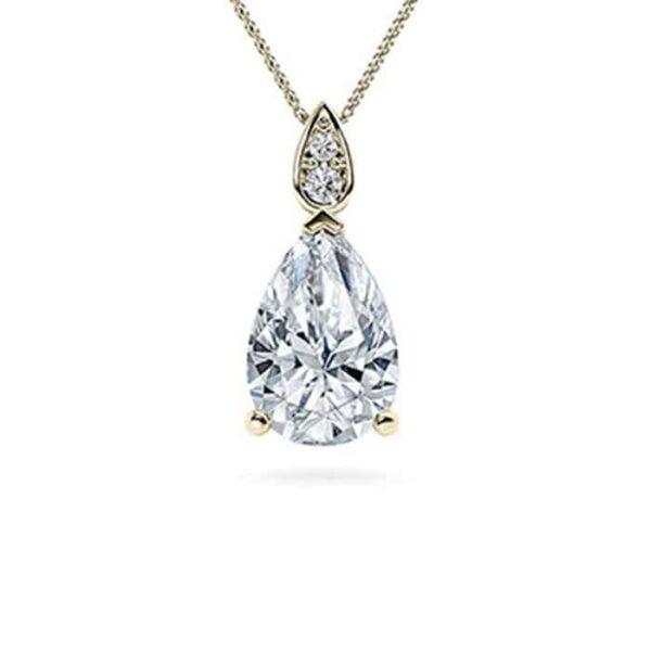 Μονόπετρο κολιέ με πουάρ διαμάντι σε νέο σχέδιο