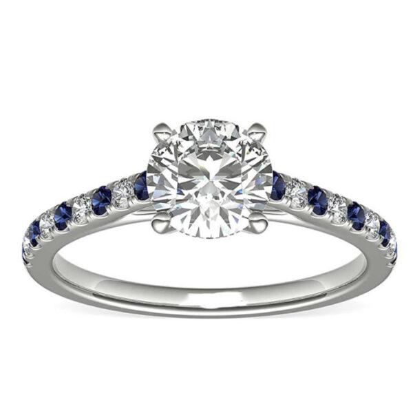 Δαχτυλίδι αρραβώνα με διαμάντια και ζαφείρια