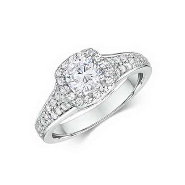 Δαχτυλίδι με στρογγυλά διαμάντια λευκόχρυσο