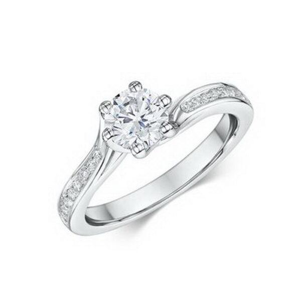 Μονόπετρο δαχτυλίδι λευκόχρυσο με διαμάντια