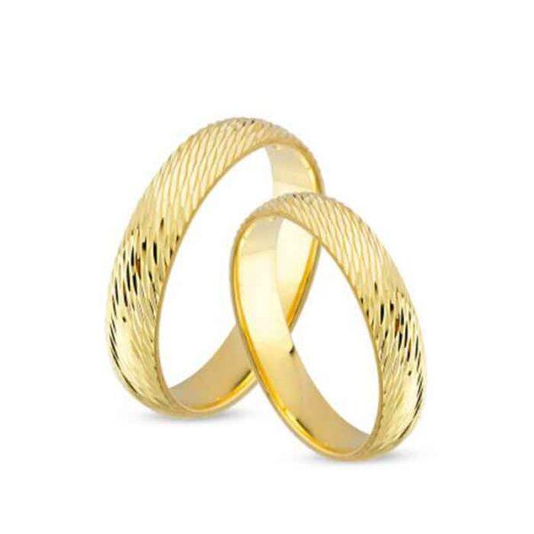 Χρυσές βέρες γάμου κομψές με σχέδιο