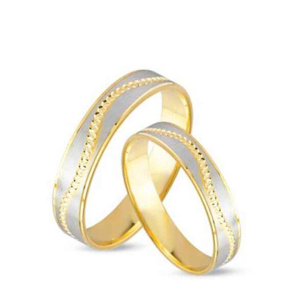 Βέρες γάμου κίτρινο χρυσό και λευκόχρυσο