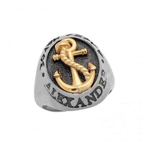 Μοναδικό υψηλής ποιότητας ασημένιο δαχτυλίδι άγκυρα